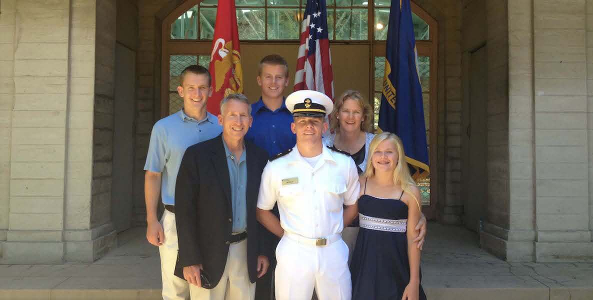 The Borch family (from left to right): Kyle Borch; Chris Borch (father); Cameron Borch; Tyler Borch (center, in uniform); Andrea Borch (mother); Allison Borch. Photo courtesy of Tyler Borch