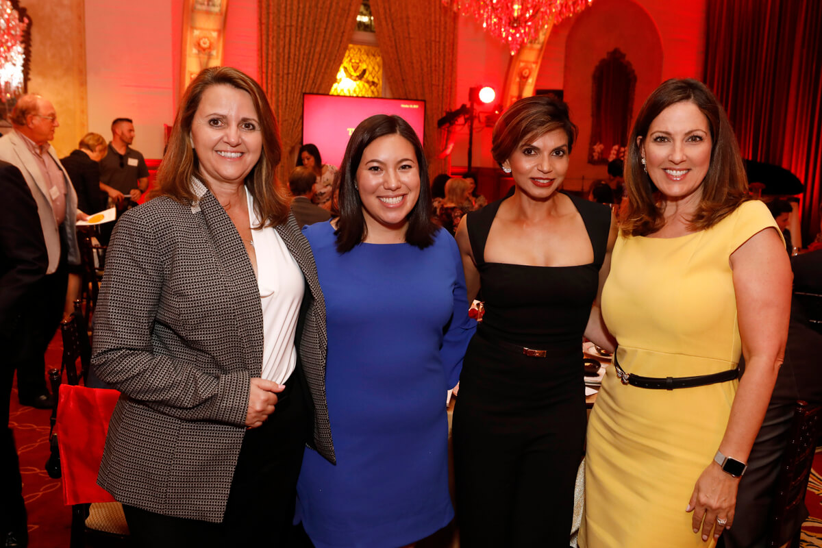 The night's speakers included, from left, Senior Associate Dean for Viterbi Admissions and Student Engagement Kelly Goulis; Jerome S. Linn Scholarship recipient and USC Trustee Scholar Arynn Gallegos '20; USC Viterbi graduate and parent Usha Patel '92, MS '95; and Senior Associate Dean of Advancement, Mary Ann Schwartz. (Photo Credit: Steve Cohn)