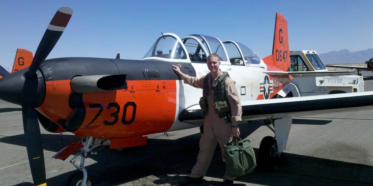 U.S. Air Force officer, Captain Edward Proulx after his first acrobatic solo in flight school when he was then a Marine Aviator, 2nd Lt. in Las Cruces, NM. (Photo/Courtesy of Edward Proulx)