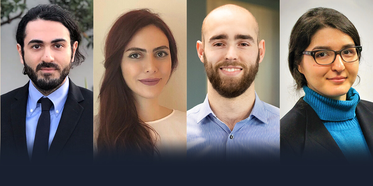 (Left to Right) Farbod Amirghasemi, Golnaz Dianat, Weston Lord and Maral Mousavi of Watershield won this year's Maseeh Entrepreneurship Prize Competition (Photo/Madelin Lum)