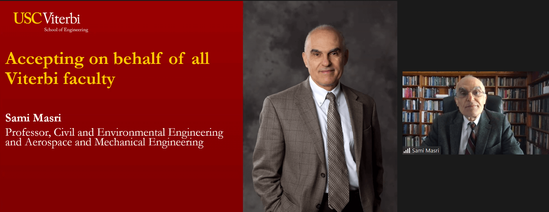 Sami Masri, Viterbi's longest-standing faculty member, accepts the John O'Brien Faculty Award for Service on behalf of the entire faculty.