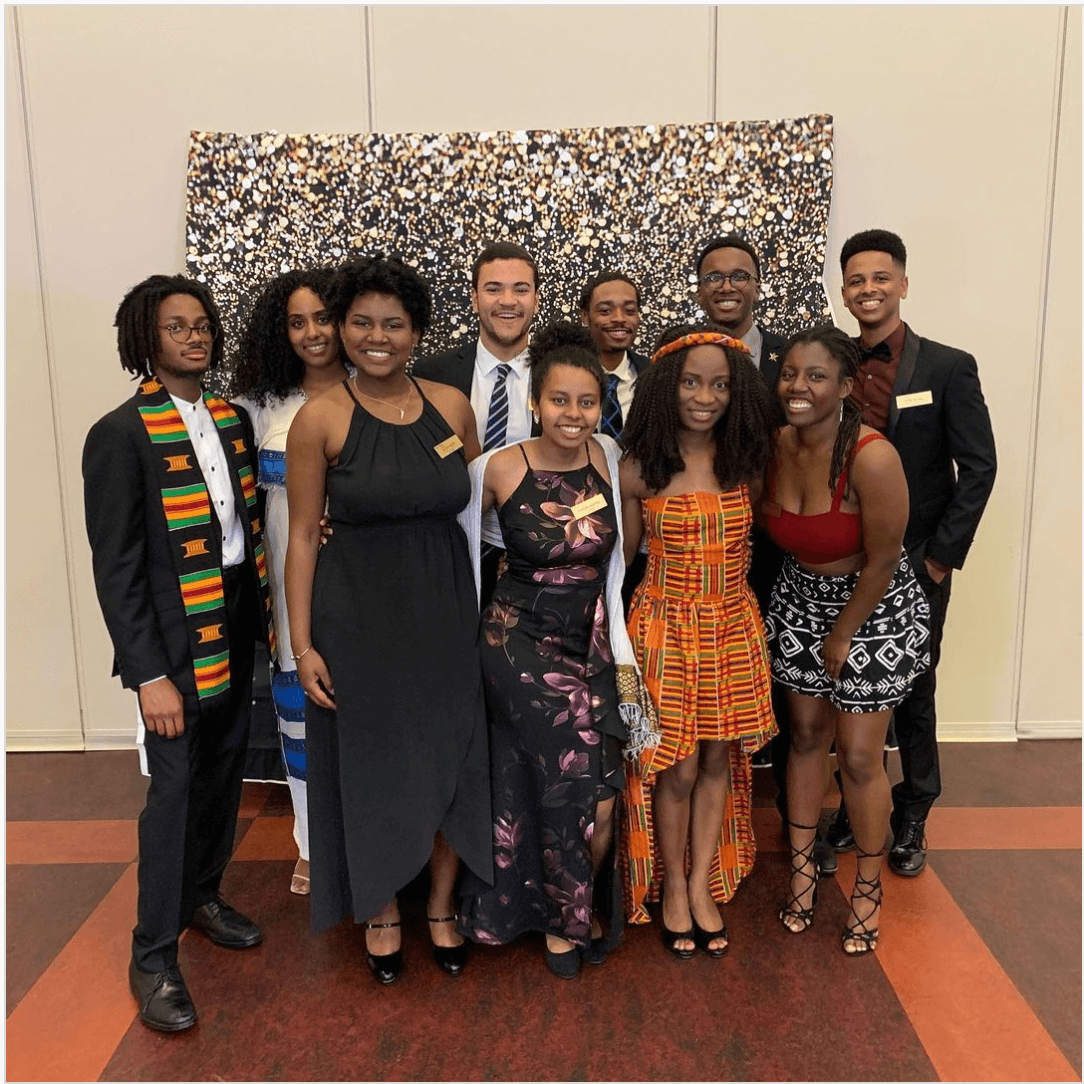Hanna Endrias (front row, center) and other members of the USC NSBE executive board at the 2020 Afro-Ball.