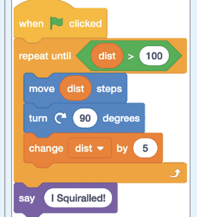 An example of a traditional block-based program.